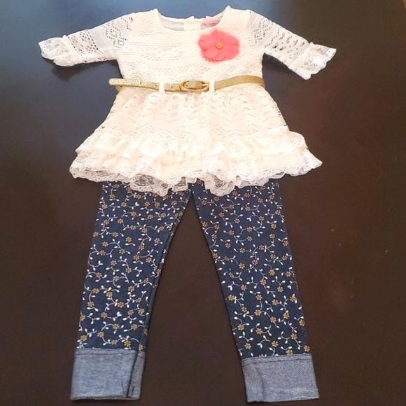 Girls 2-Piece Top & Floral Pants Set Size 2T